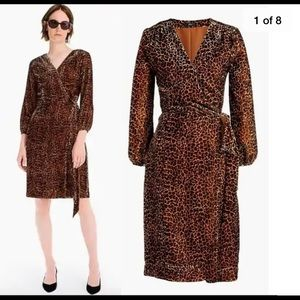 J Crew Leopard Velvet Wrap Dress